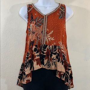 Patrons of Peace floral embroidered high low tank